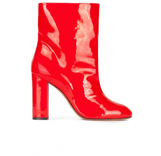 Red high block heel ankle boots in patent Pura López