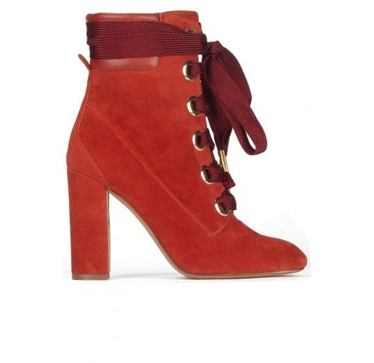 Lace-up high block heel ankle boots in tile red suede Pura L�pez