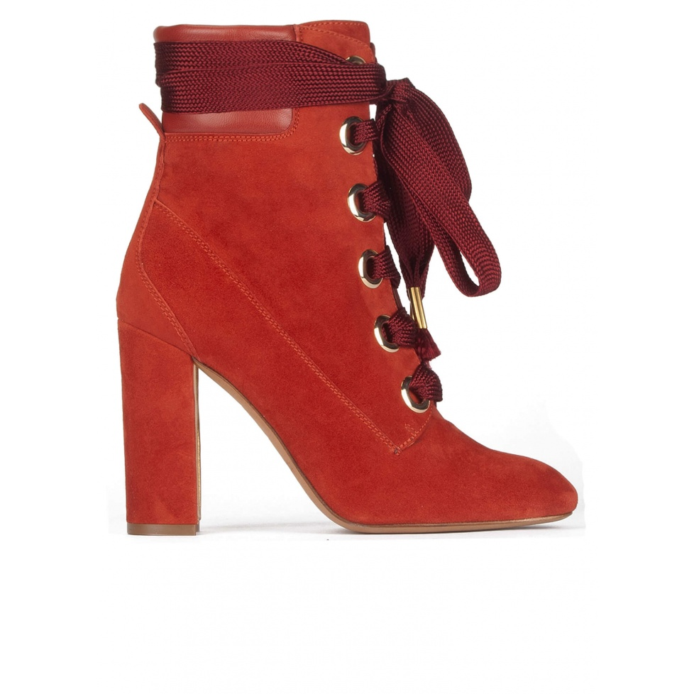 Lace-up high block heel ankle boots in tile red suede