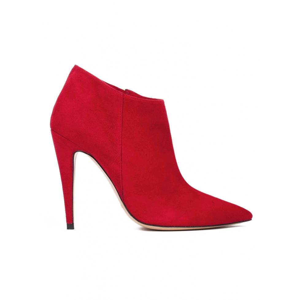 High heel ankle boots in red suede