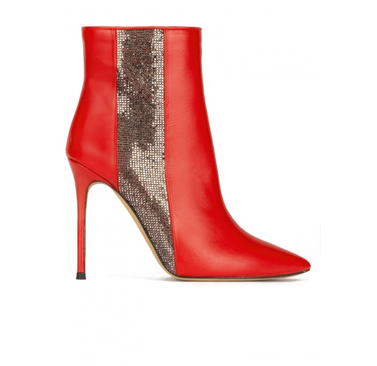 High heel point-toe ankle boots in red leather with strass panel Pura L�pez
