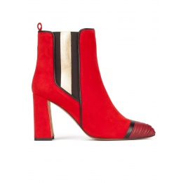 Red suede high block heel ankle boots with elasticated panel Pura López