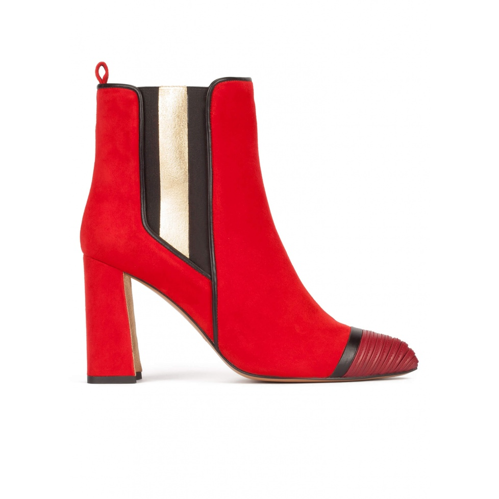 Red suede high block heel ankle boots with elasticated panel