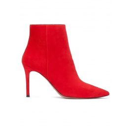 Red suede high heel point-toe ankle boots Pura López
