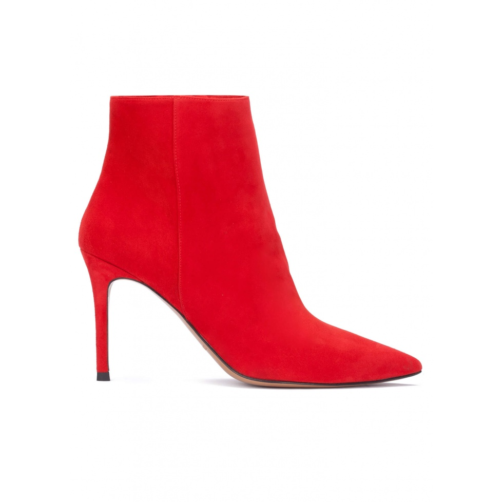 Red suede high heel point-toe ankle boots