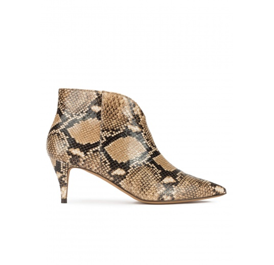 Mid heel point-toe ankle boots in snake-effect leather Pura L�pez