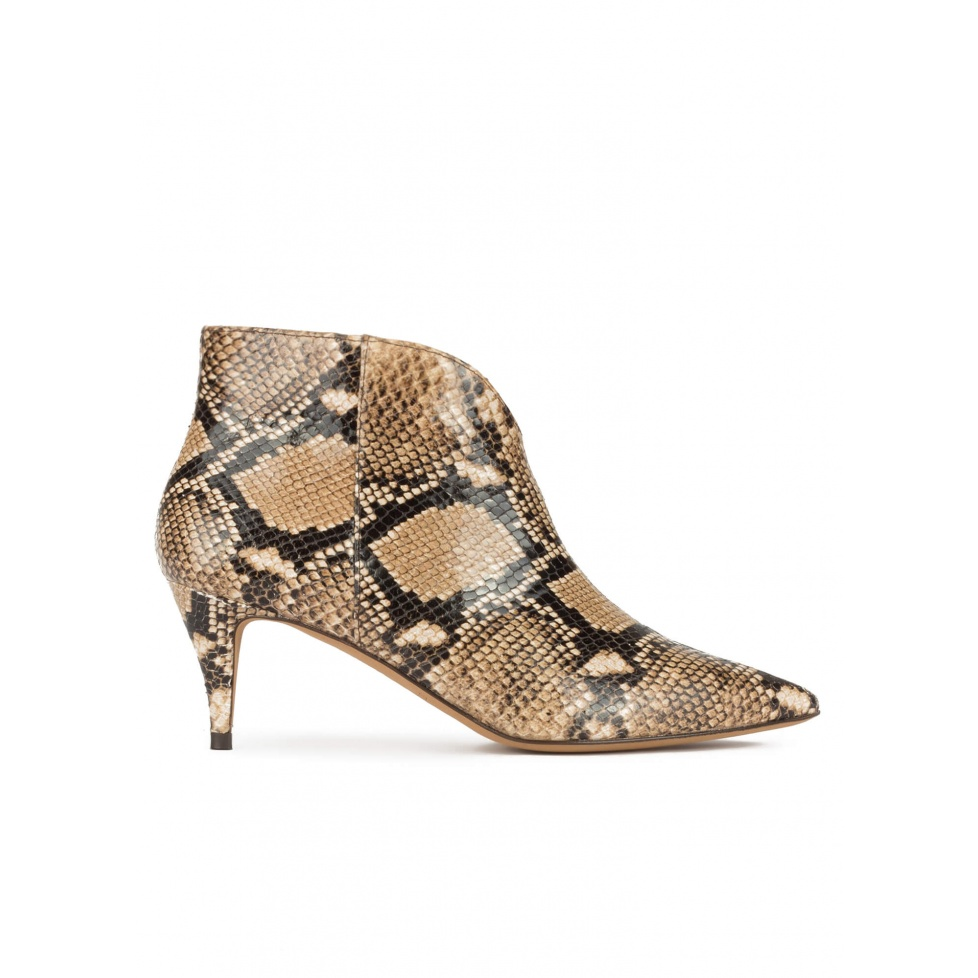 Mid heel point-toe ankle boots in snake-effect leather