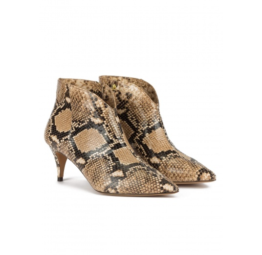 Mid heel point-toe ankle boots in snake-effect leather Pura López