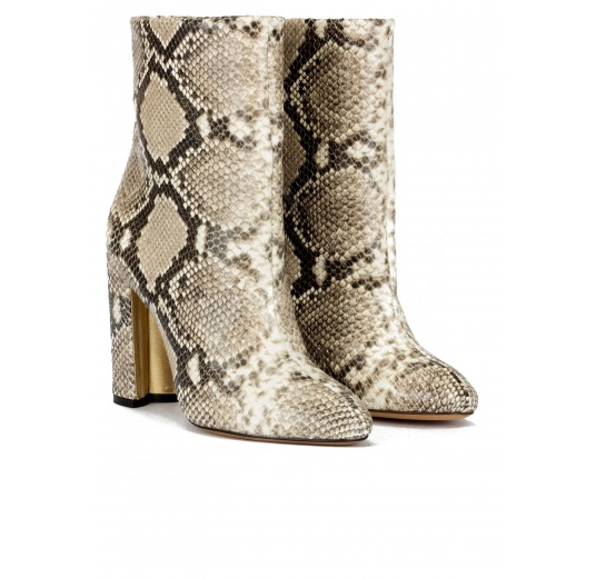 High block heel ankle boots in snake-effect leather Pura López