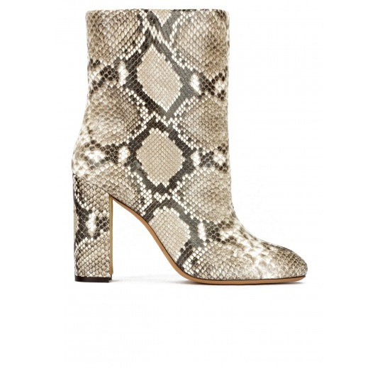 High block heel ankle boots in snake-effect leather Pura L�pez