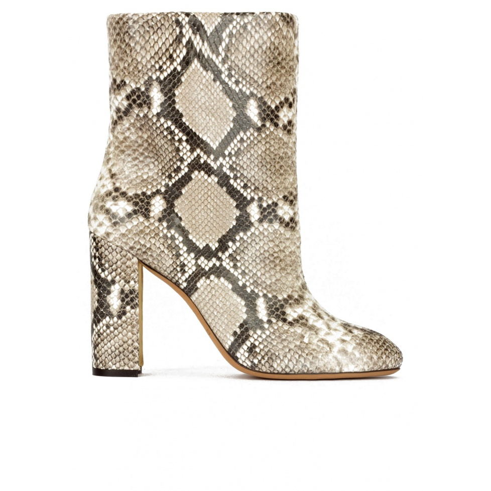 High block heel ankle boots in snake-effect leather