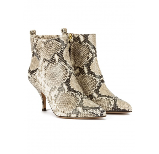 Curved heel point-toe ankle boots in snake-effect leather Pura López