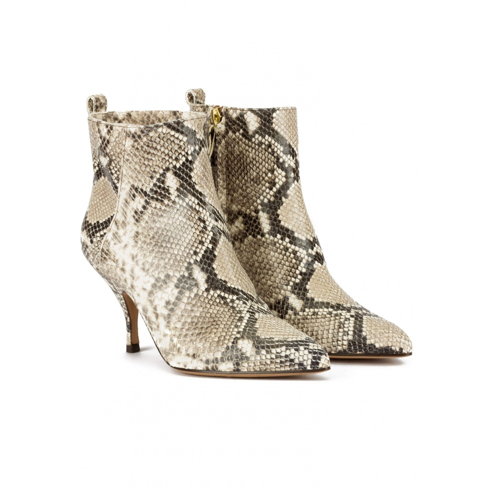 Curved heel point-toe ankle boots in snake-effect leather