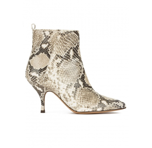 Curved heel point-toe ankle boots in snake-effect leather Pura L�pez