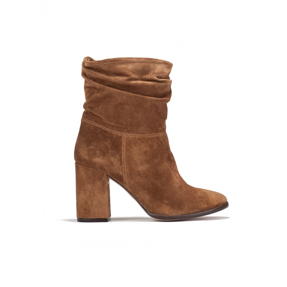 High heel ankle boots in brown suede