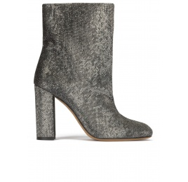 High block heel ankle boots in metallic mesh material Pura López