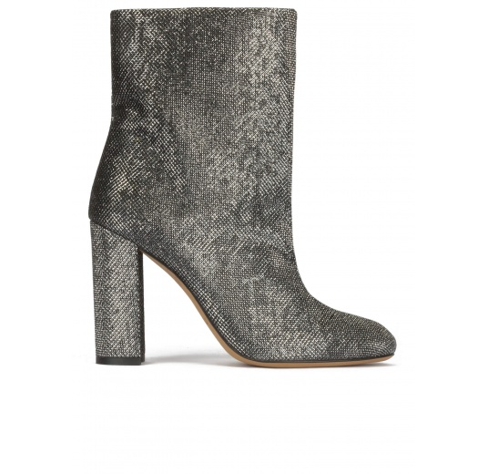 High block heel ankle boots in metallic mesh material Pura L�pez