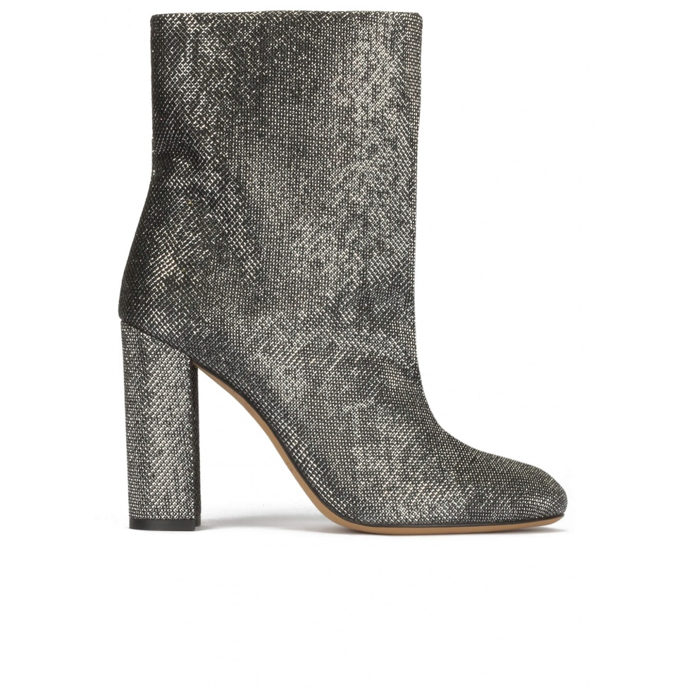 High block heel ankle boots in metallic mesh material