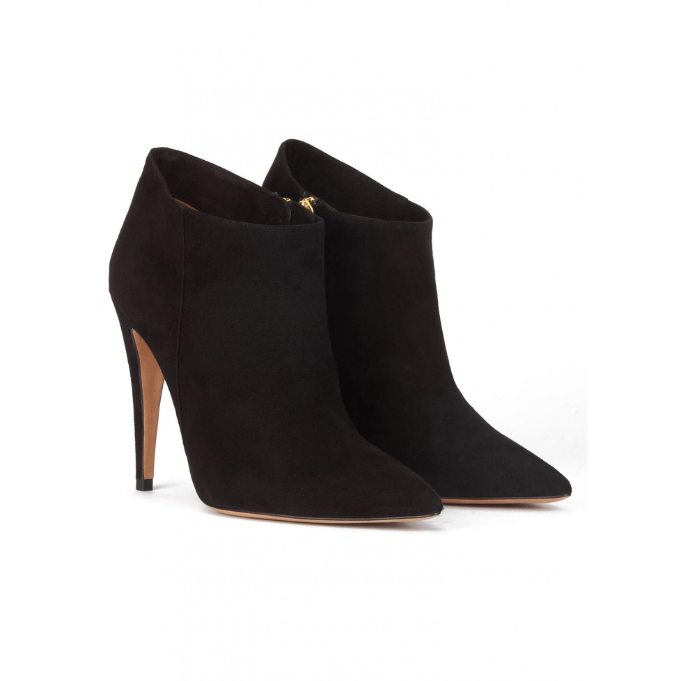 High heel pointy toe ankle boots in black suede