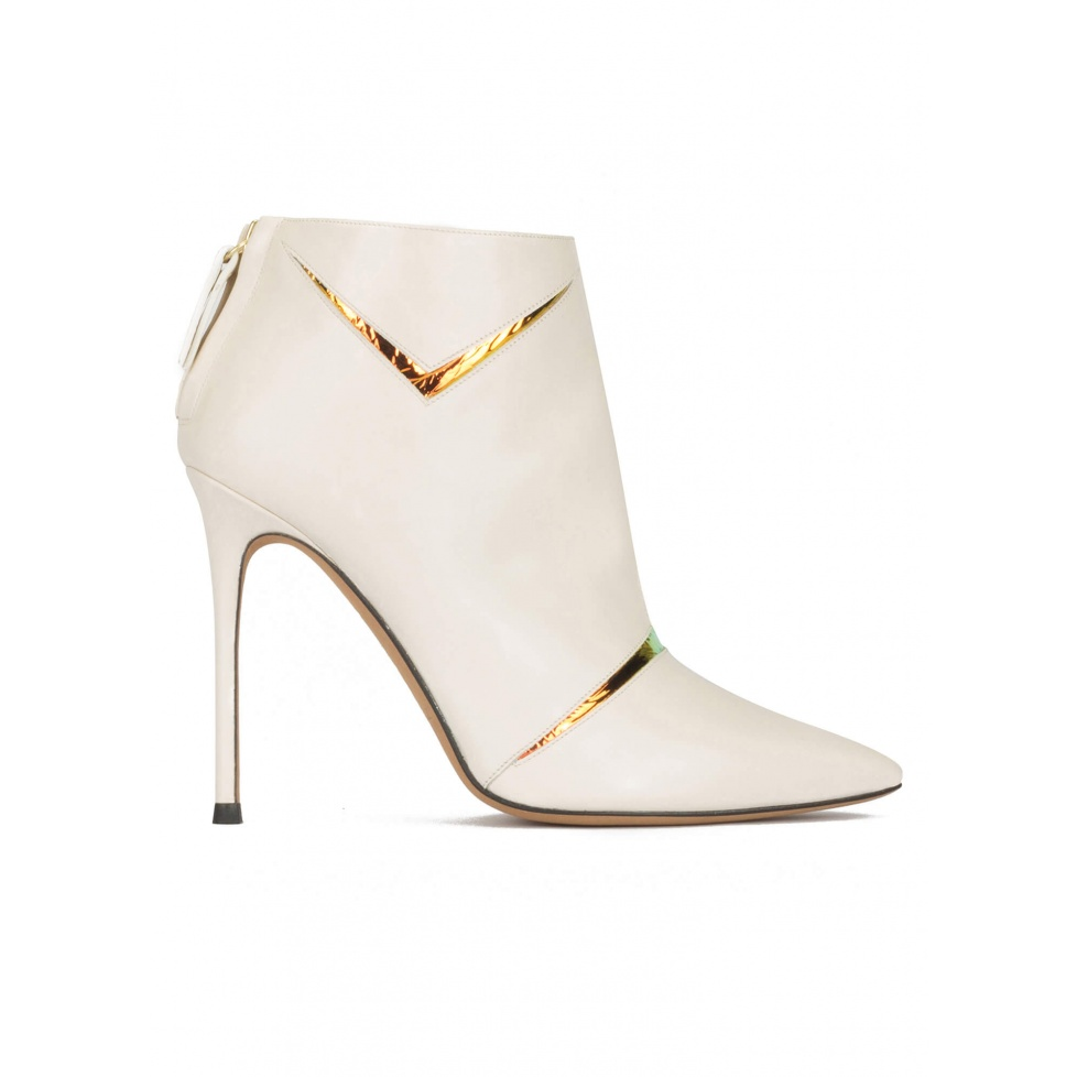 High heel pointy toe ankle boots in off-white leather with gold detail