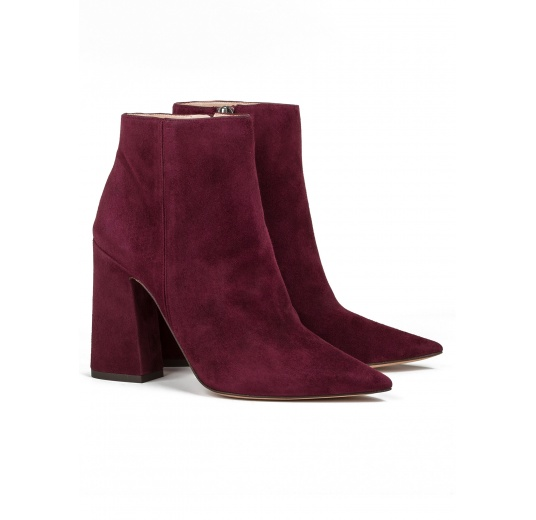 High heel ankle boots in burgundy suede Pura L�pez