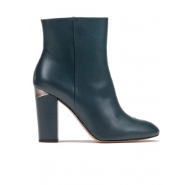 High block heel ankle boots in petrol blue leather Pura López