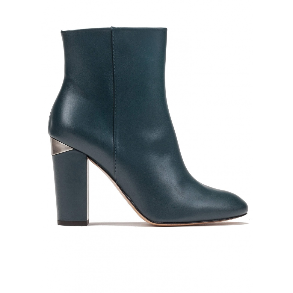 High block heel ankle boots in petrol blue leather