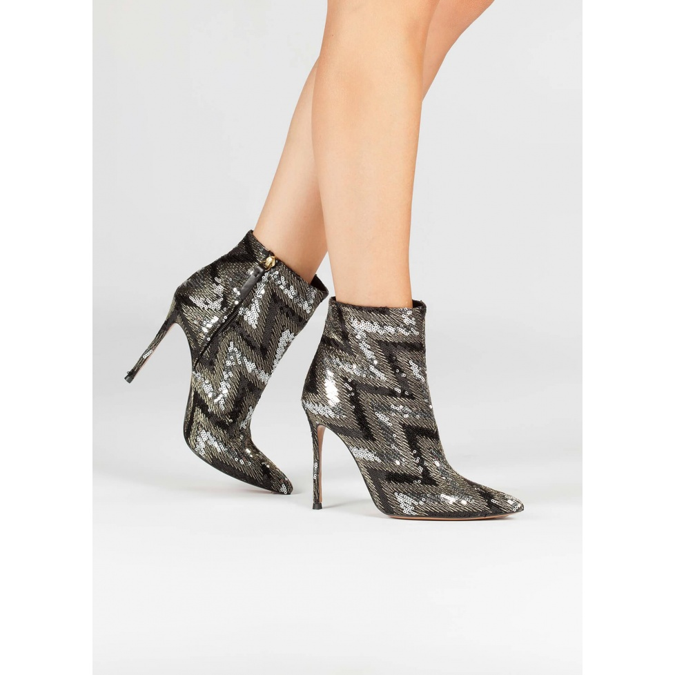 Sequined high heel ankle boots