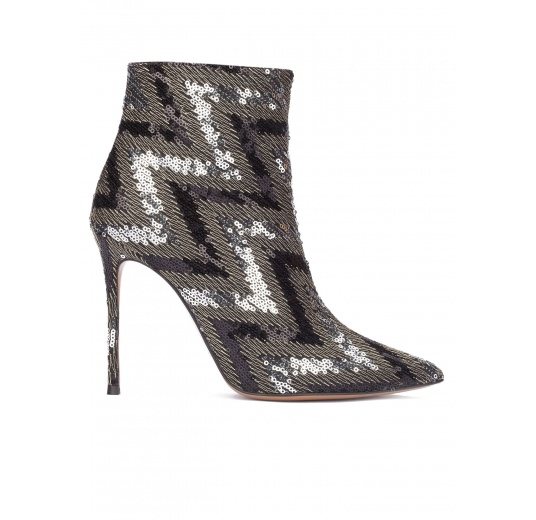 Sequined high heel ankle boots Pura L�pez