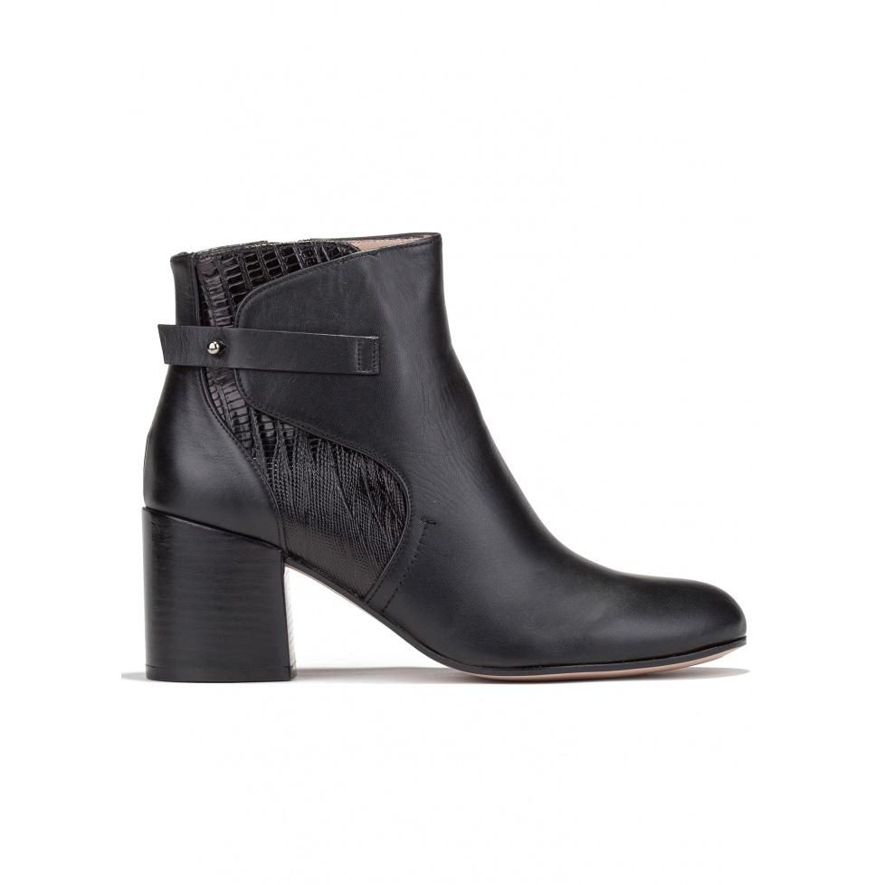 Mid heel ankle boots in black leather