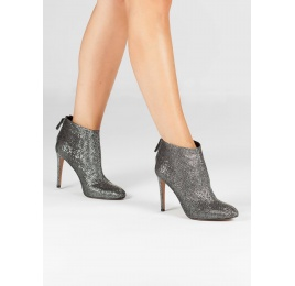 High stiletto heel ankle boots in metallic fabric Pura López