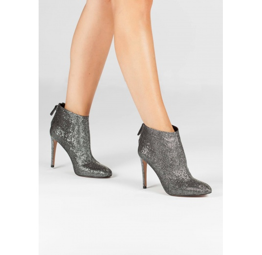 High stiletto heel ankle boots in metallic fabric Pura L�pez