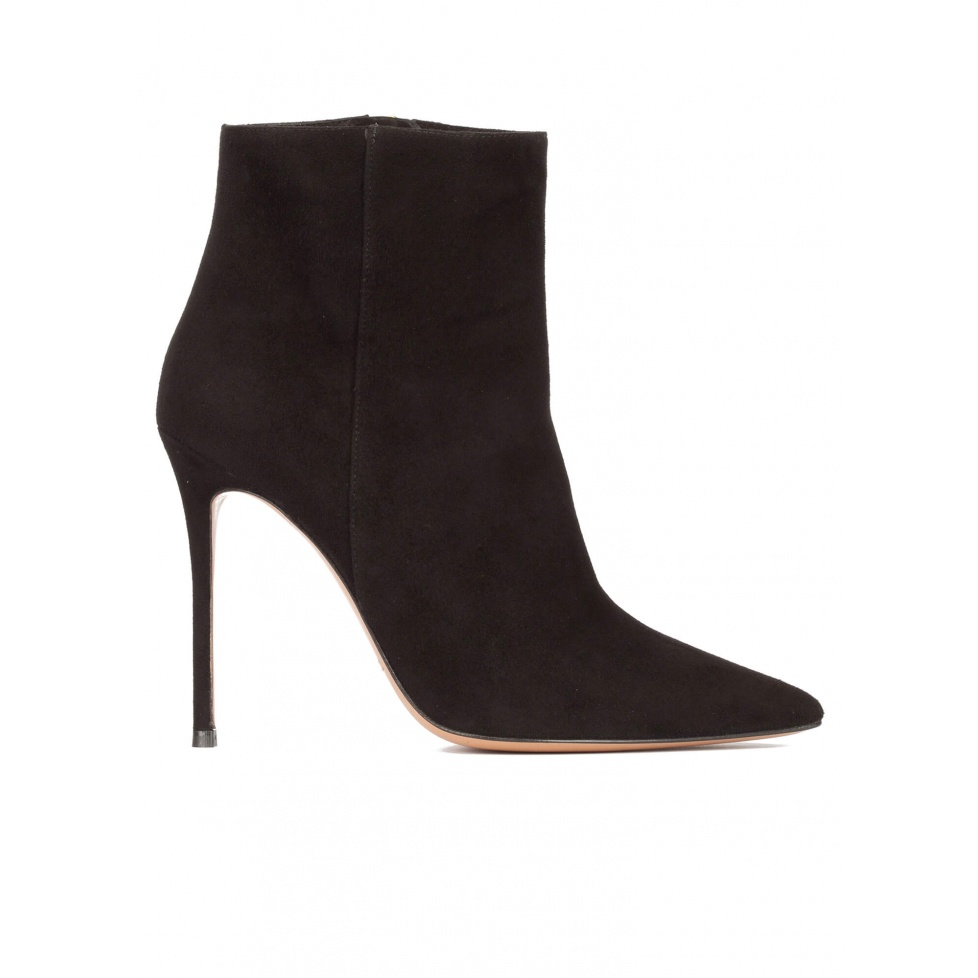 High heel point-toe ankle boots in black suede