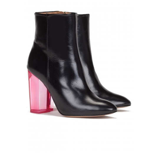 Clear block heel ankle boots in black leather Pura L�pez