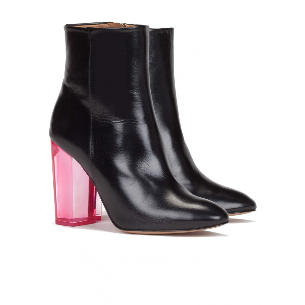 Clear high block heel ankle boots - online shoe store Pura Lopez