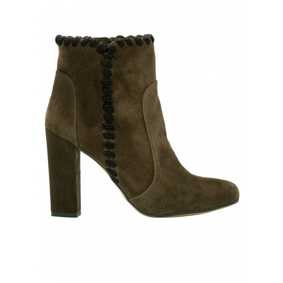 High heel ankle boots in army green suede