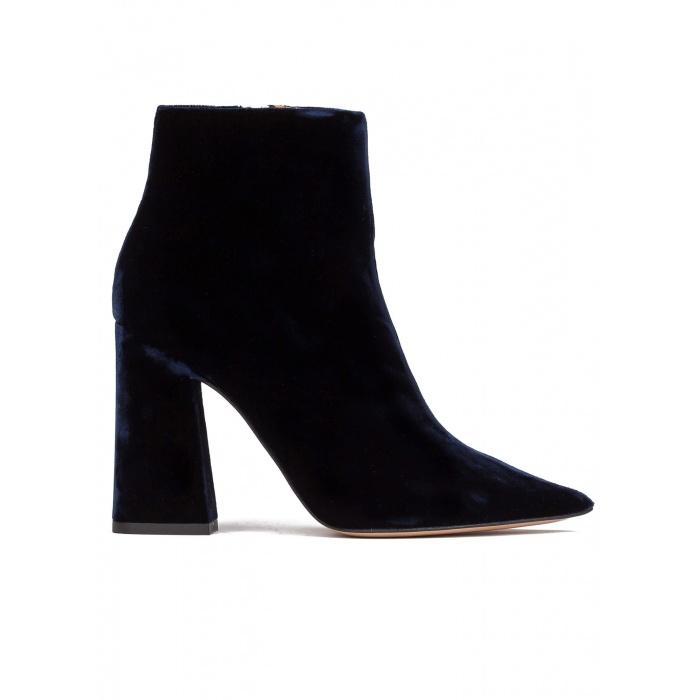 High heel ankle boots in night blue velvet