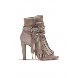 High heel ankle boots in taupe suede Pura López