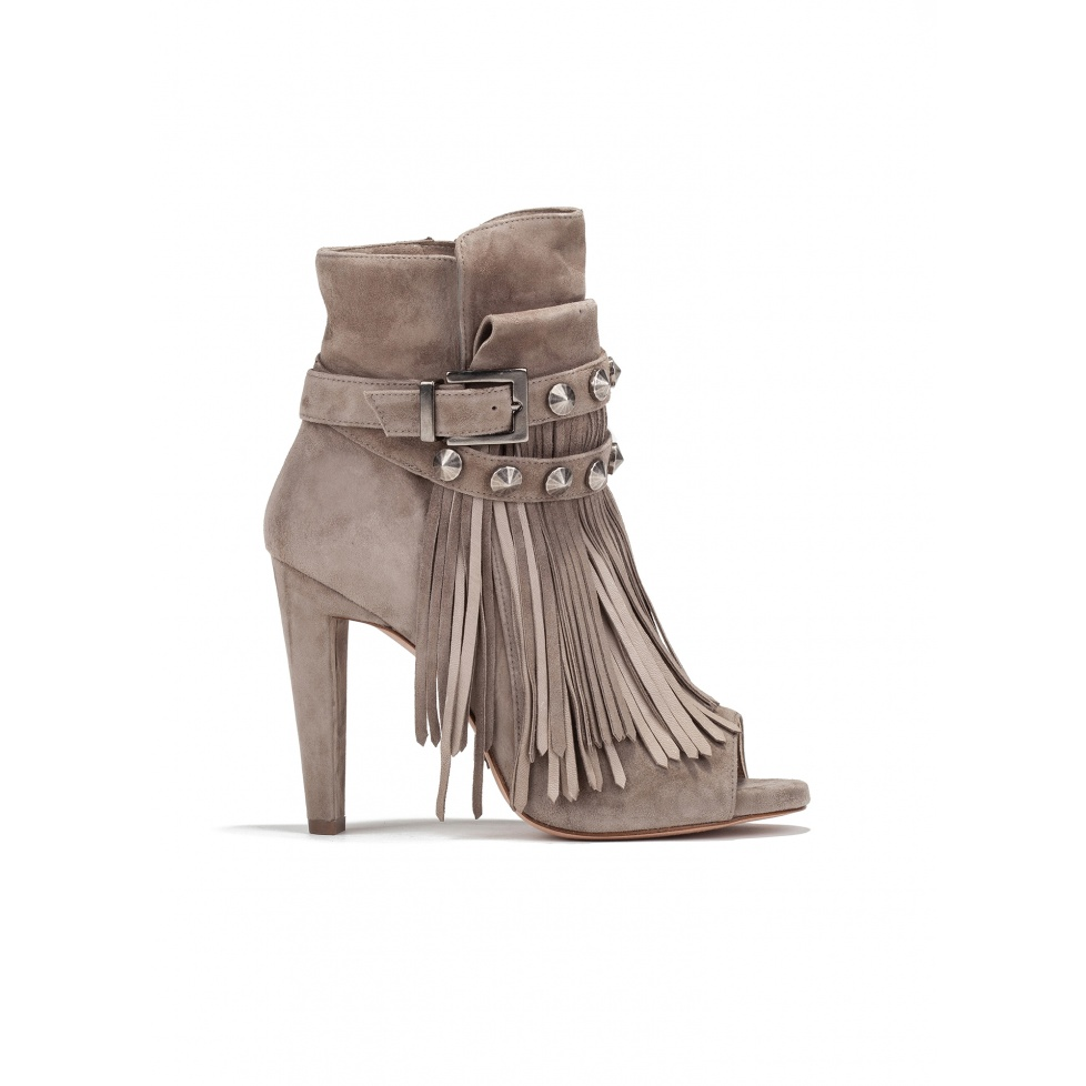 High heel ankle boots in taupe suede