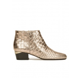 Mid heel ankle boots in champagne braided metallic leather Pura López