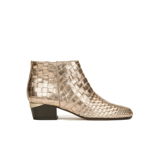 Mid heel ankle boots in champagne braided metallic leather Pura L�pez