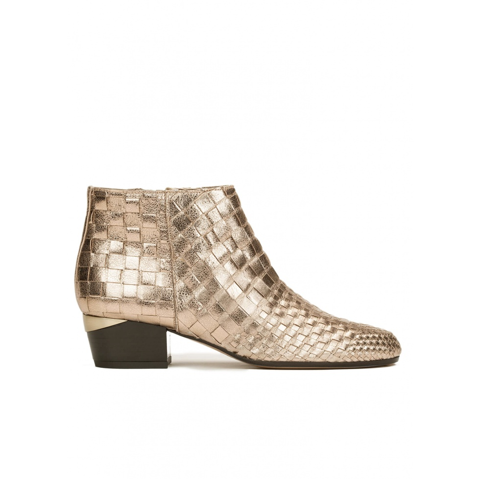 Mid heel ankle boots in champagne braided metallic leather