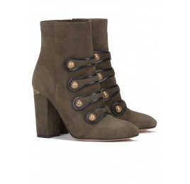 High block heel ankle boots in military green suede Pura López