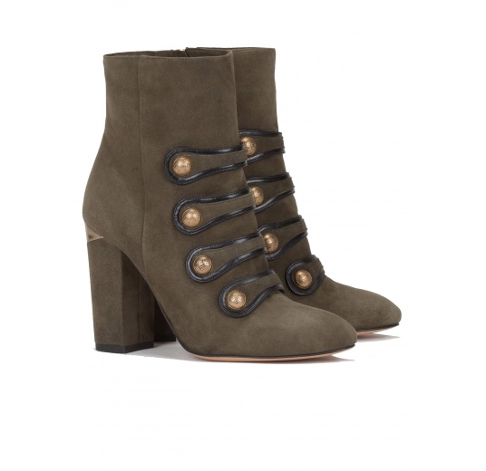 High block heel ankle boots in military green suede Pura L�pez