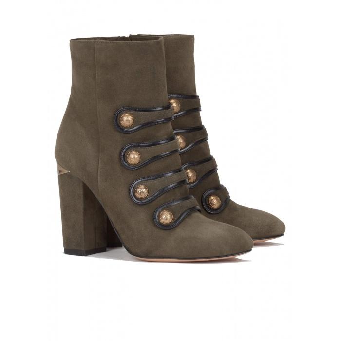 Green high block heel ankle boots - online shoe store Pura Lopez