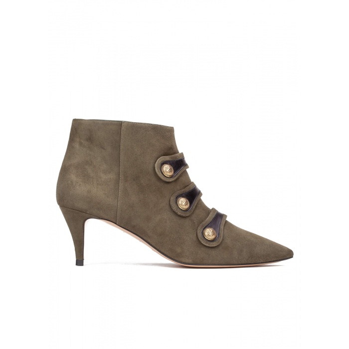 Button-embellished mid heel ankle boots in army green suede