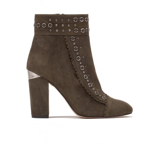 Studded high block heel ankle boots in military green suede Pura L�pez