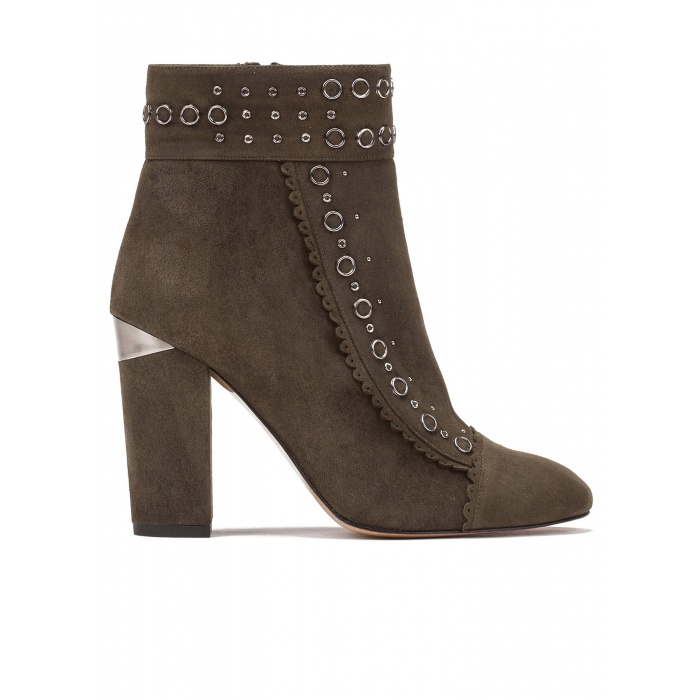 Studded high block heel ankle boots in military green suede