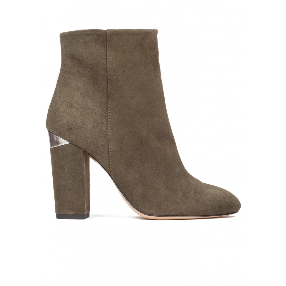 High block heel ankle boots in army green suede