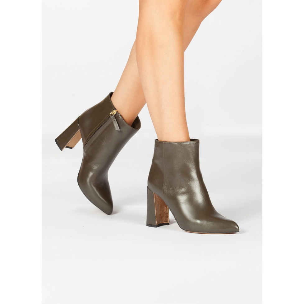Khaki green leather high block heel ankle boots